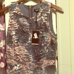 DKNY grey and mauve lace dress